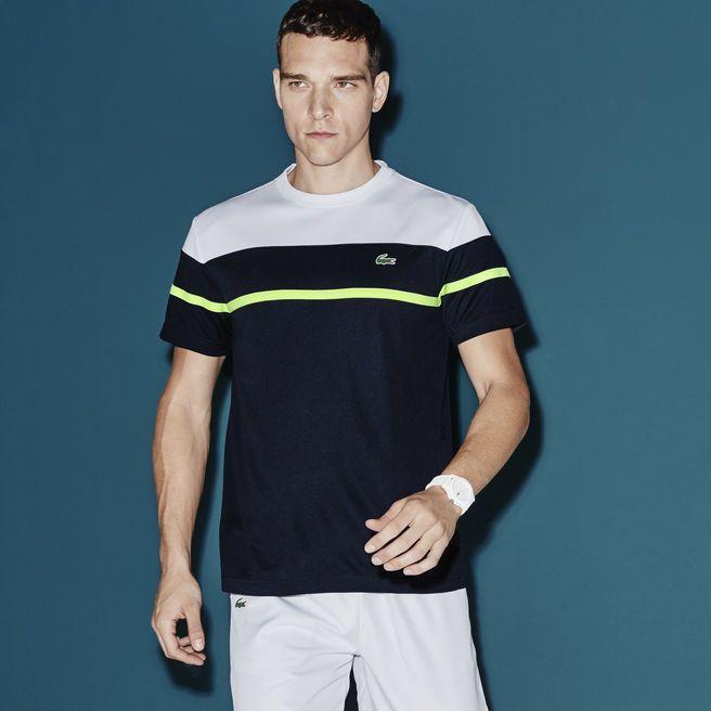 T-shirt decote redondo Tennis Lacoste SPORT em piqué ultra-dry color block