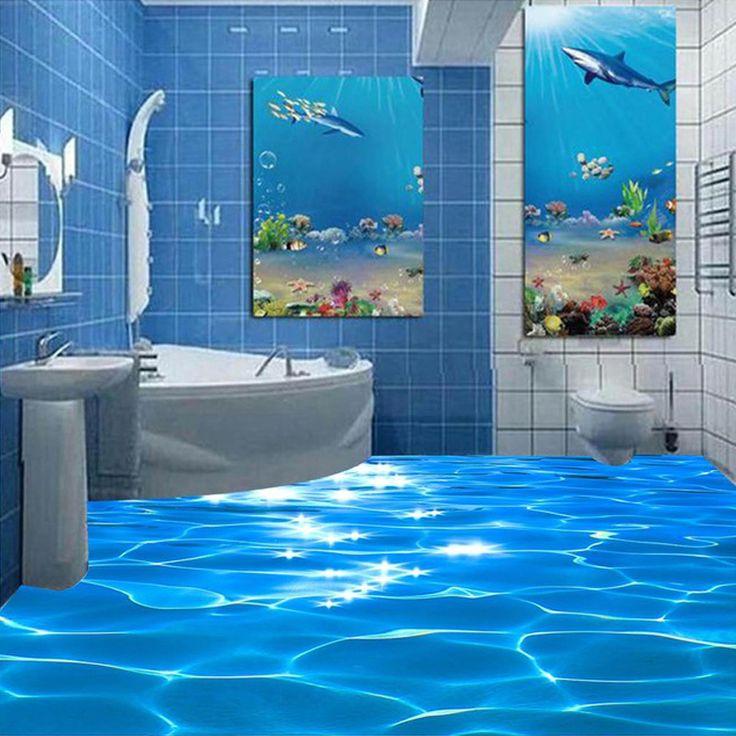 Foto feita sob encomenda chão wallpaper 3d mar água ondulações chão do banheiro do hotel mural pvc papel de parede auto adesivo à prova d' água papel de parede em Papéis de parede de Melhoramento Da casa no AliExpress.com | Alibaba Group