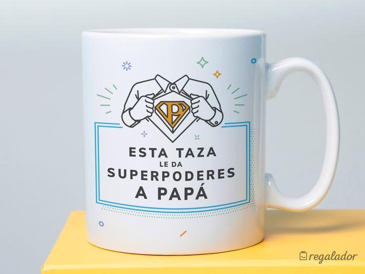 Taza con súperpoderes para papá. Todo padrazo necesita desayunar con una súper taza Los súper poderes que necesita por la mañana no están en el café Están en esta taza y las sonrisas que despierta.