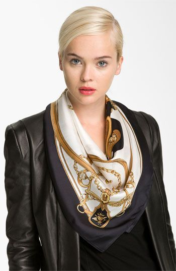 Silk scarves add a feminine charm to ANY outfit! #chic #scarf #carre