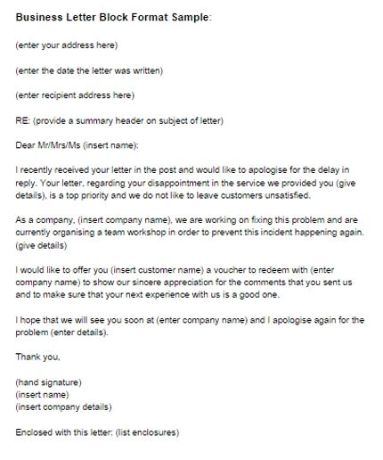 business letter different types letters block style format example