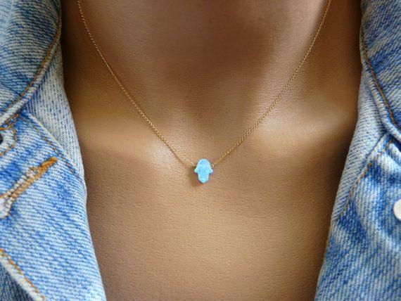 Opal hamsa necklace Opal necklace Blue opal necklace by OpaLand