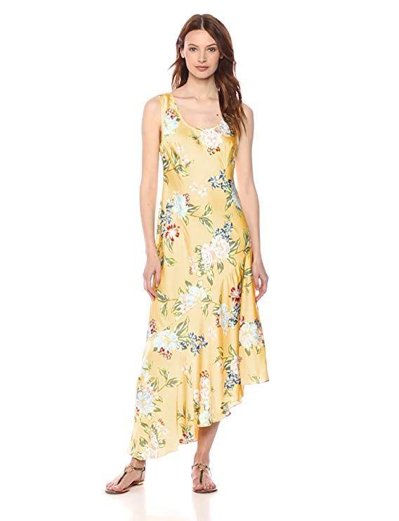 78478e3393b7 Donna Morgan Women's Printed Slip Dress with Asymmetrical Hemline -  Blogging ERA