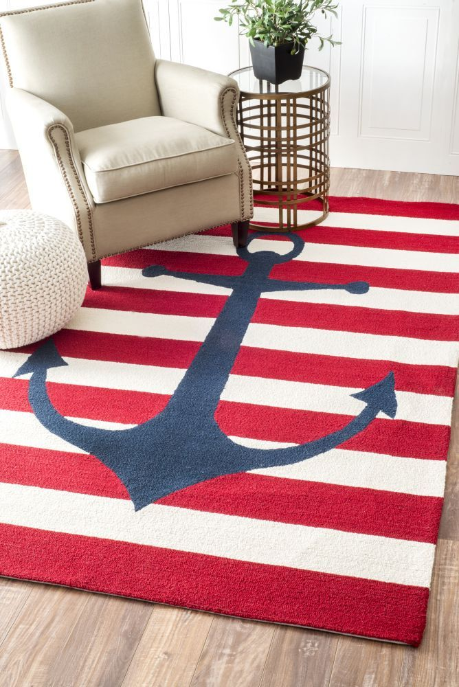 Homespun Anchor Striped Red Rug | Contemporary Rugs #RugsUSA
