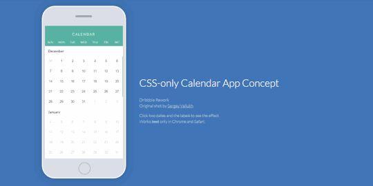 Pure #CSS Calender App Concept http://saijo.co/1LJtck5 by David Khourshid #webdesign #CodeMyUI