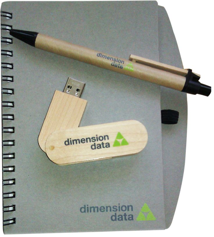 JustONE engaged with The Collateral Company to source some 'natural' resources for a conference their client was holding. We sourced  branded notebooks and pens made from recycled paper and 4G USBs made with wooden cases.