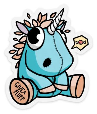 Plushie Unicorn Sticker – Give A Fluff