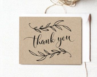 Vintage Wedding Printable Thank You Card, Wedding Thank You Card, Kraft Thank You Card - Instant DOWNLOAD - 4.25x5.5 inches, TY1001, VW01