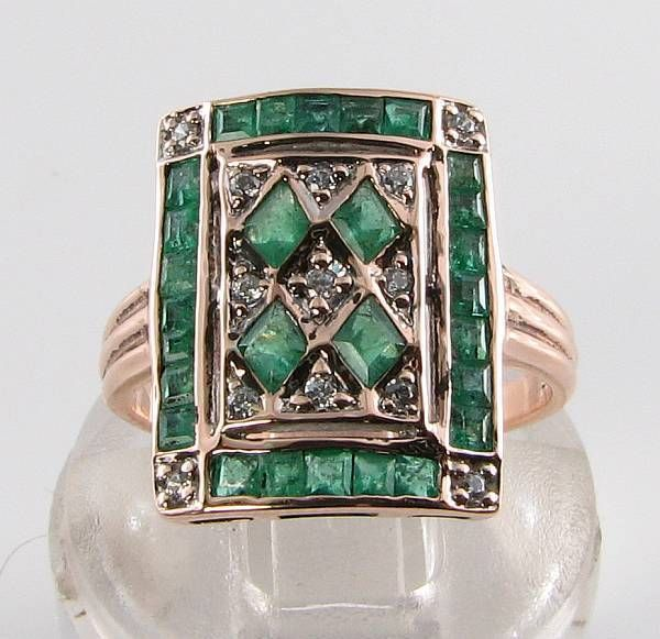 LARGE 9CT ROSE GOLD COLOMBIAN EMERALD DIAMOND ART DECO RING FREE RESIZE | eBay!