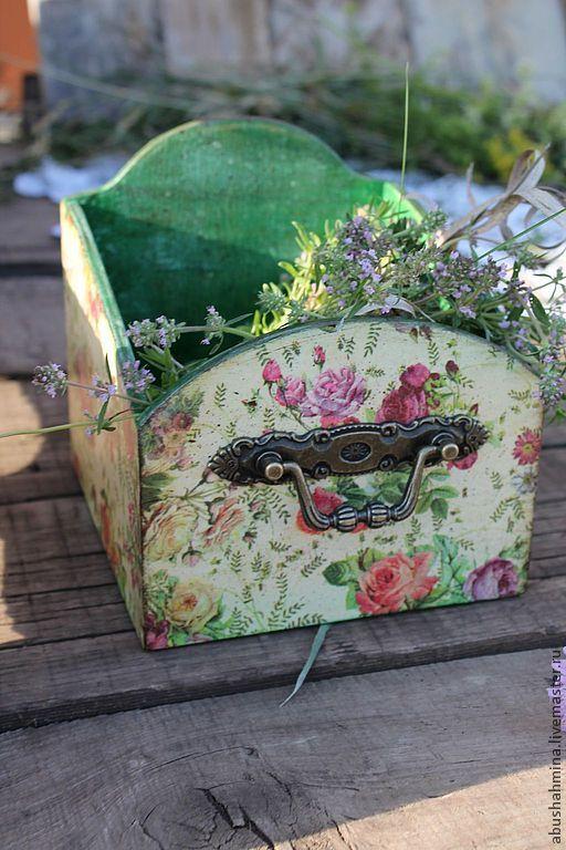 короб цветочный или русское лето в деревне - зелёный,цветы,цветочный,короб для хранения