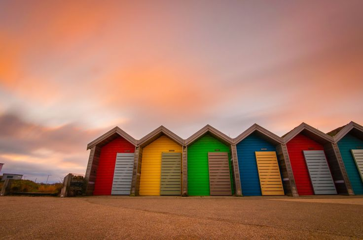 If only all sunsets looked this spectacular. These bold, vivid huts can be found on the beach between Whitley Bay and Blyth.