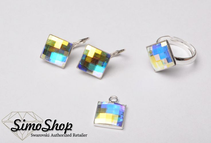 Set cu pandantiv, inel și cercei din cristale swarovski cu baza din argint 925! #bijuterii #swarovski #argint #simoshop
