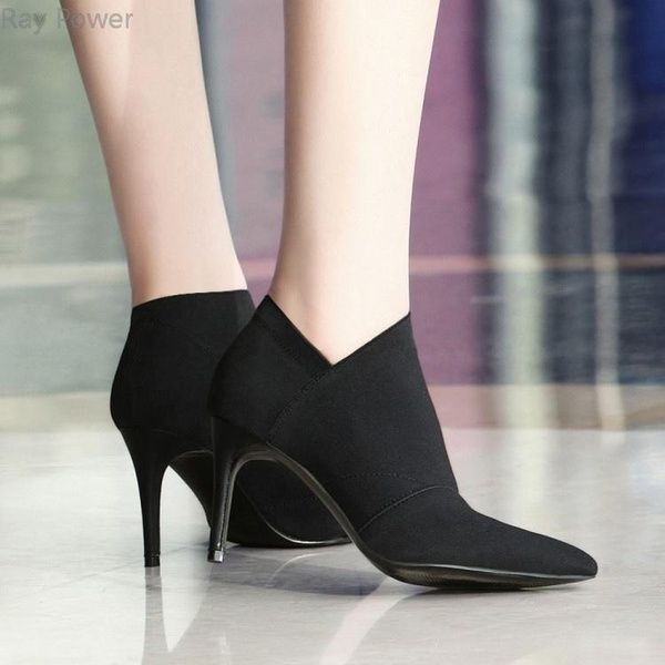 Ladies Ankle Boots Womens Winter Rouched High Heel Zip Comfy Work Shoes Sizes