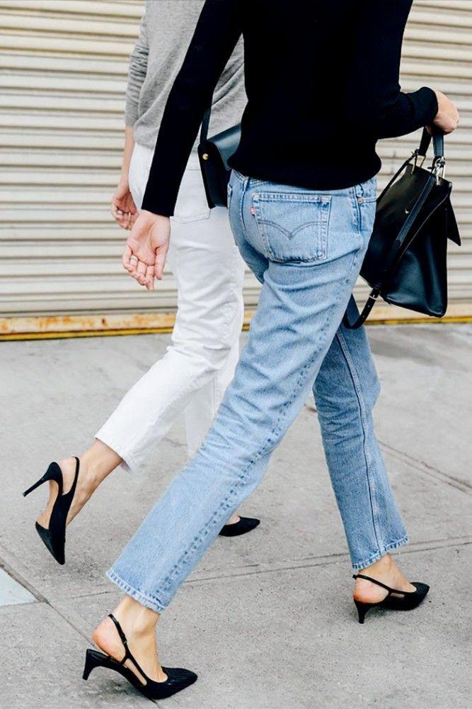 Le Fashion Blog Elin Kling Casual Chic Street Style Grey Tee White Denim Black Sweater Vintage Levis Jeans Slingback Kitten Heels Via Tommy Ton