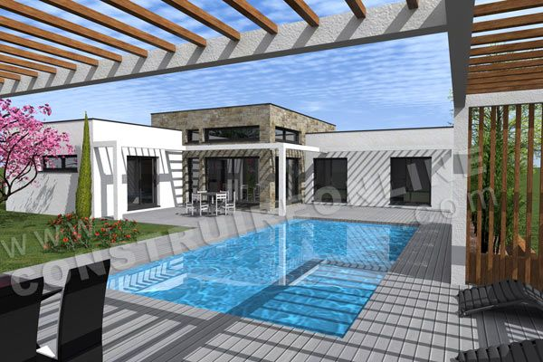 plan maison contemporaine pool house EQUATION                                                                                                                                                                                 Plus