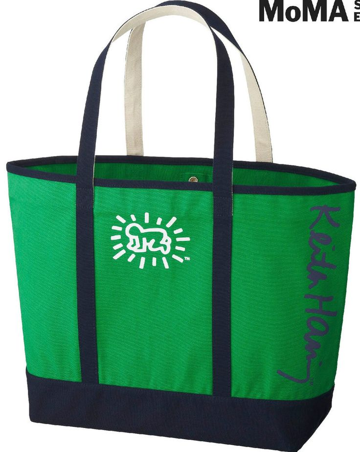 KEITH HARING x UNIQLO 'Baby' Tote Bag LARGE Green/Navy SPRZ NY MoMA **NWT** #UNIQLOSPRZNY #ToteBag