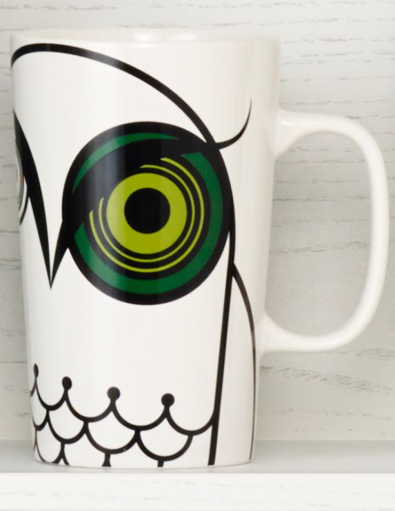 Ceramic coffee mug with an owl design and  smaller, sleeping owl behind him. #Starbucks #DotCollection
