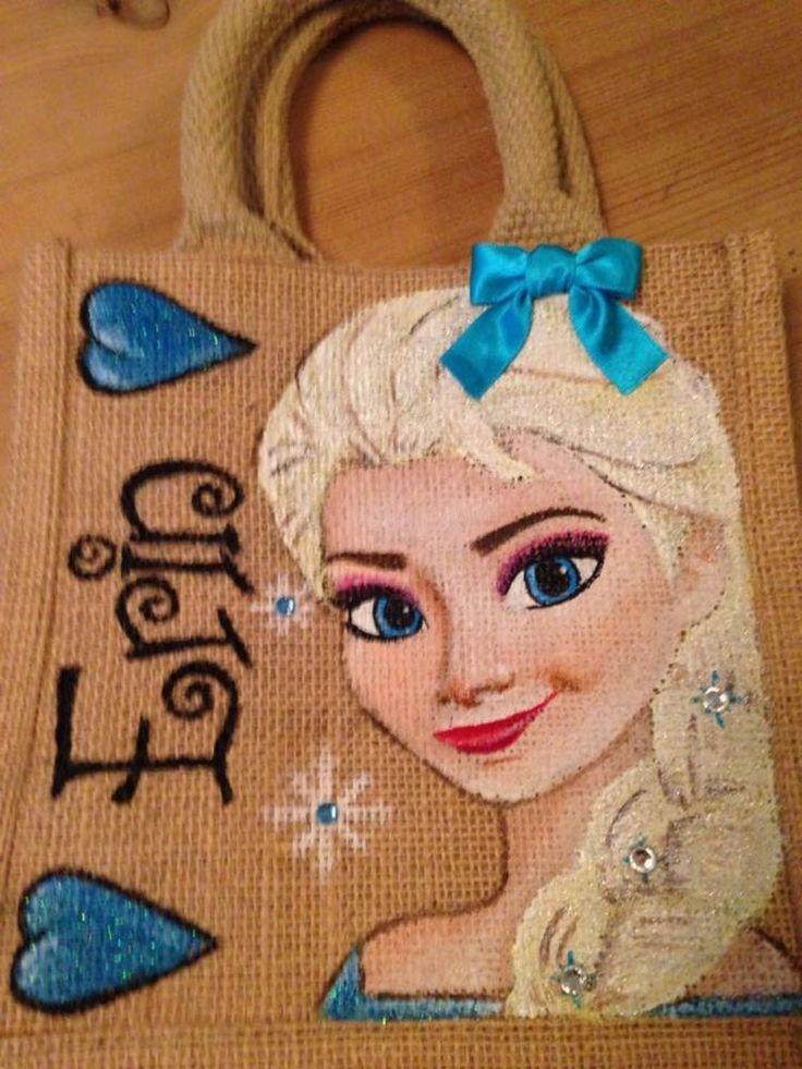 hand painted personalised Princess Elsa frozen, Ariel, Aurora, Belle..jute bags