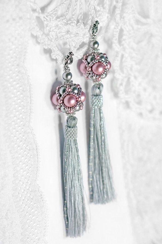 Long tassel earrings Pink and Grey earrings от RitaLovelyBeads