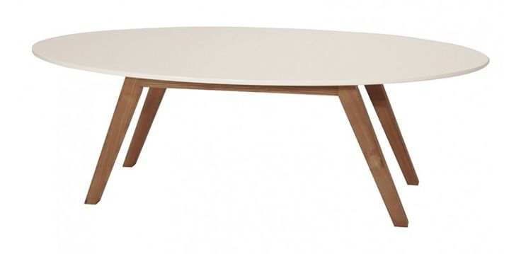 Table basse ovale design ida blanc et bois d 39 h v a design d and tables - Table basse bois blanc ...