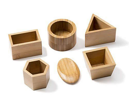 Bamboo Sand Molds - 6 Piece Geometric Shapes - Compatible with Kinetic Sand, Sands Alive, Brookstone Sand, Waba Sand, Moon Sand and All Other Molding Play Sand Brands - (Sand not included)