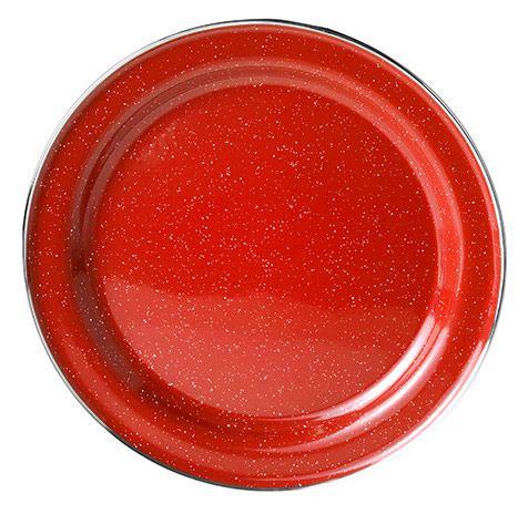 Stainless Steel Rim Red Graniteware  Dinner Plate