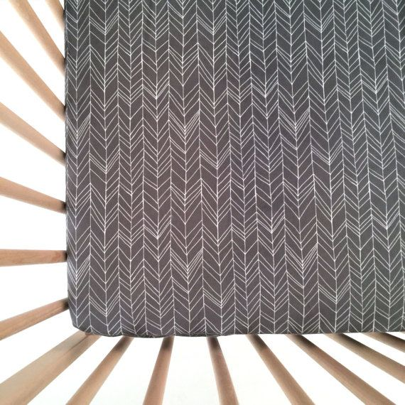 Crib Sheet Charcoal Feather Chevron. Fitted Crib by Iviebaby