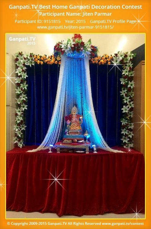 Jiten Parmar Home Ganpati Picture 2015. View more pictures and videos of Ganpati Decoration at www.ganpati.tv