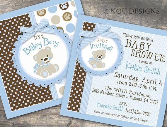 Adorable Teddy Bear Baby Shower or Baptism Invitation Card- Printable File