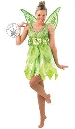 Disney #Tinkerbell kostuum bestaande uit het groene jurkje met de tailleband en de vleugels.