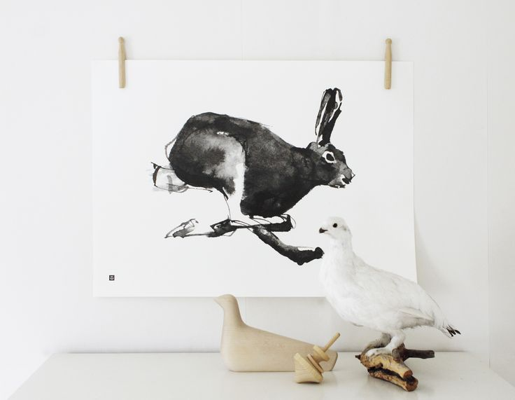 Mountain Hare Forest Greetings poster Teemu Järvi Illustrations http://www.teemujarvi.com/en/shop/products/98-hareposter.html Photo: Susanna Vento