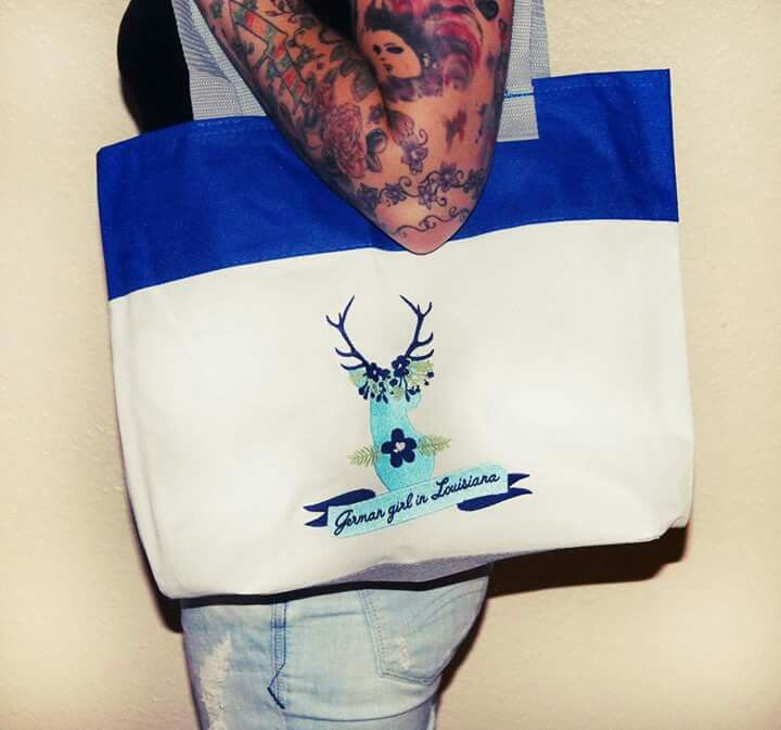 Tote bag with embroidered Deer Design from www.facebook.com/powerdsign or www.etsy.com/shop/PowerDsign #bag #design #animals #fashion #deer #german #tote #love