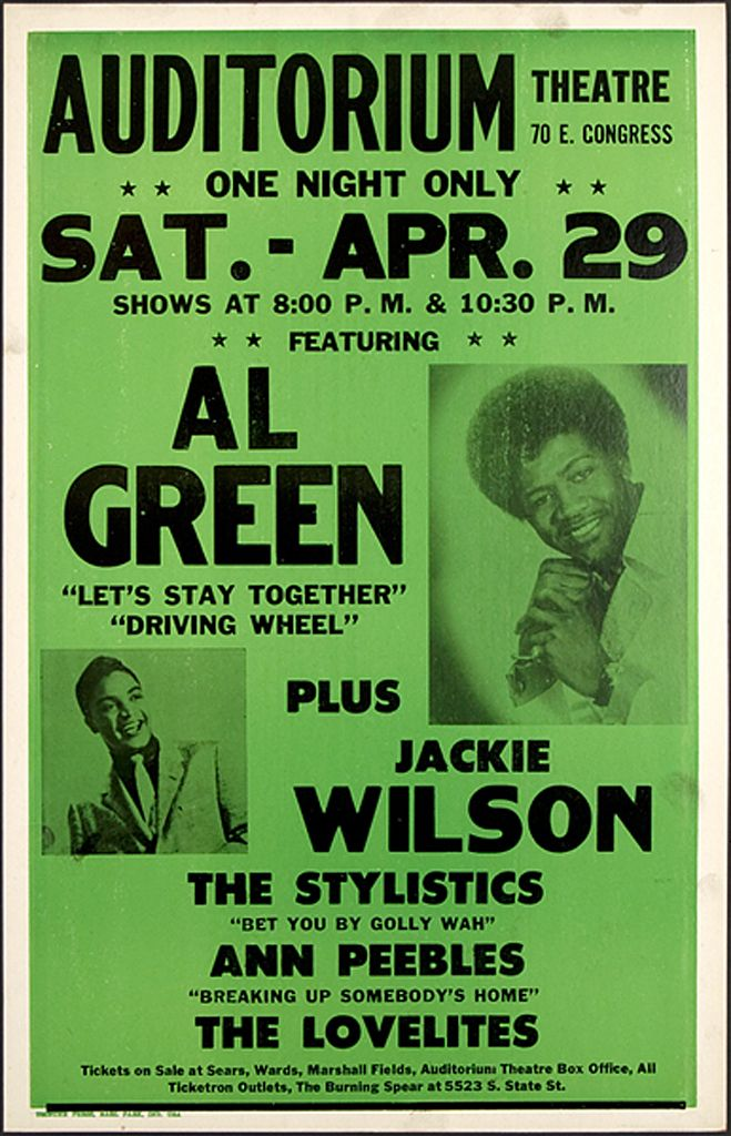 Classic Soul Concert Poster — Al Green, Jackie Wilson, The Stylistics, Ann Peebles & The Lovelites