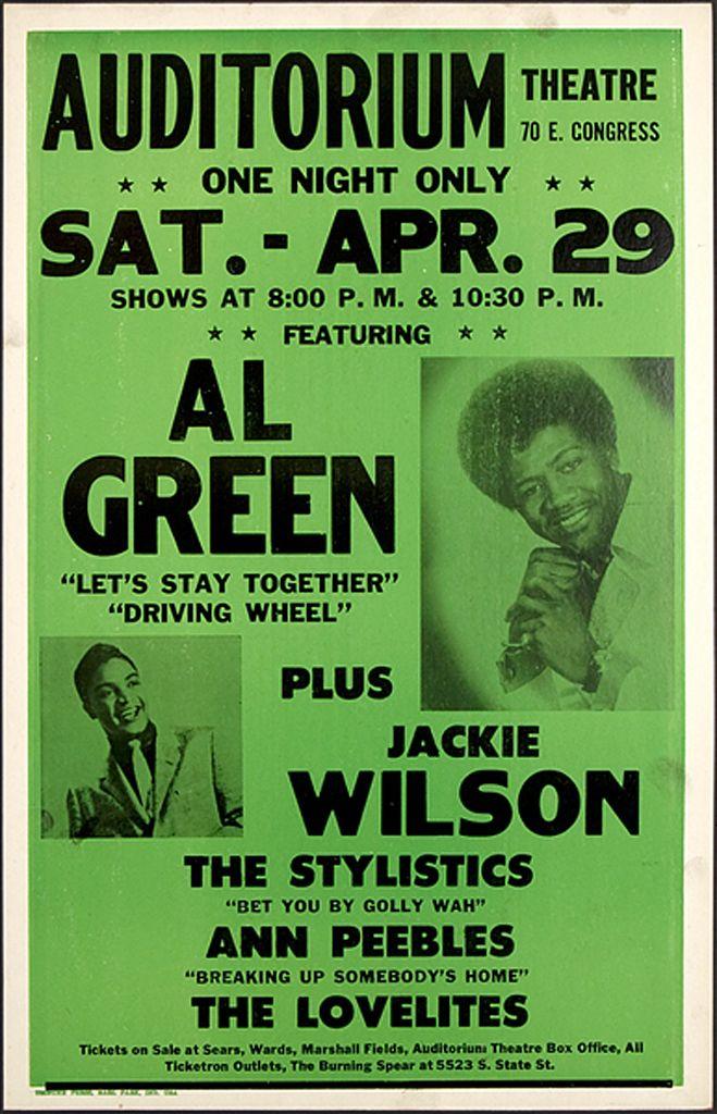 Classic Soul Concert Poster — Al Green, Jackie Wilson, The Stylistics, Ann Peebles & The Lovelites