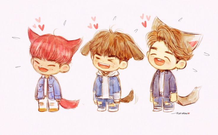 Park Woojin, Ong Seongwoo, and Kang Daniel Fan Art Credits: piupiupaw yes i love art and this is also adorable