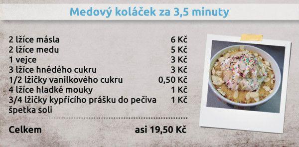 Recepty Ládi Hrušky - Medový koláček za 3,5 minuty