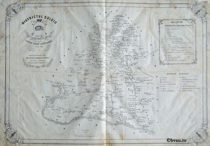 """Districtul Dolgiu, întocmit şi editat de Maior D. Pappasoglu, 1863. Imagine din colecțiile Bibliotecii """"V.A. Urechia"""" Galați."""