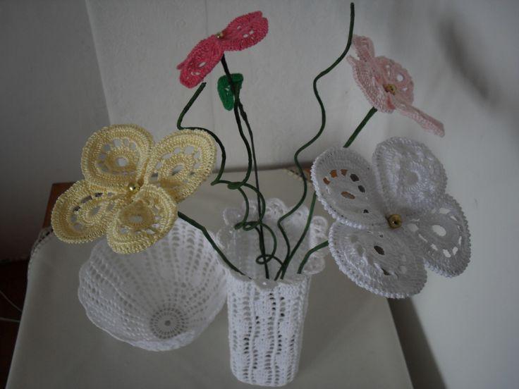horgolt váza,virág ,tál