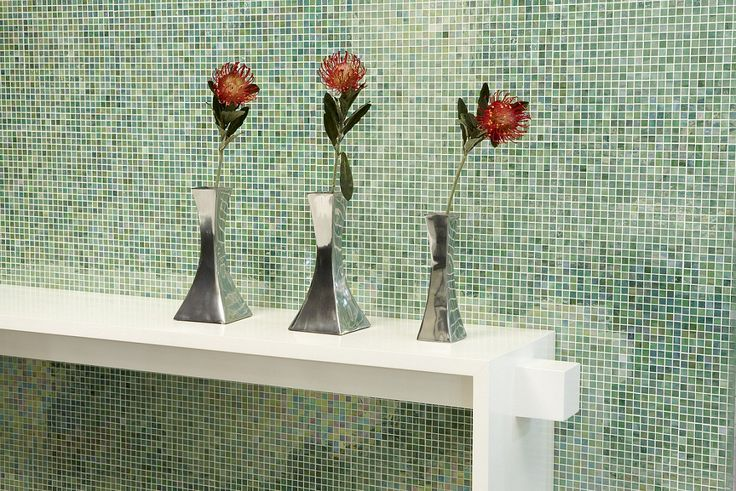 Create a decorative feature wall with brightly coloured #mosaics in your #colour of choice
