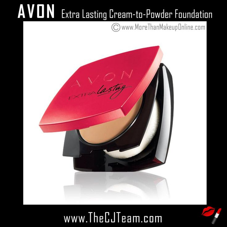 Extra Lasting Cream-to-Powder Foundation. Avon. Extra lasting foundation coverage helps you create luminous skin all day long. Extra lasting Cream-to-Powder Foundation, gives you cream coverage with the feel of a powder. The lightweight foundation gives you medium coverage that lasts all day! Reg. $14. Shop online with FREE shipping with any $40 online Avon purchase #Avon #CJTeam #Sale #Makeup #ExtraLasting #Foundation #CreamToPowder #Cosmetics  #Avon4Me #C8 Shop Avon Online…