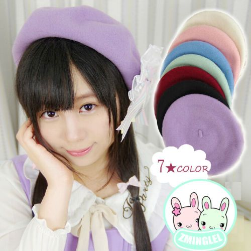 Lolita-Girls-Candy-Colors-Manga-Drawers-Beret-Hat-Kawaii-Cute-Painter-Beret-Cap