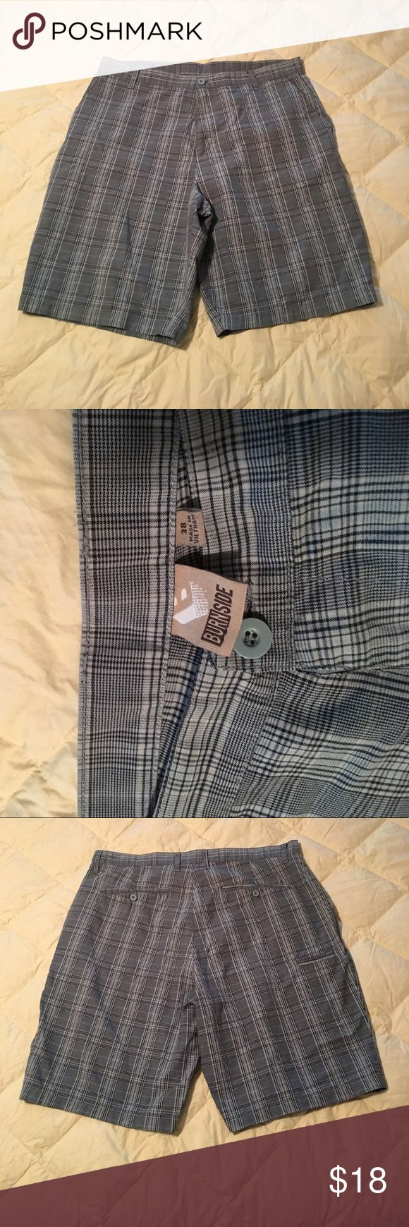 Burnside blue men's plaid shorts size 38 EUC only worn once. No stains, holes or tears visible. Burnside Shorts Flat Front
