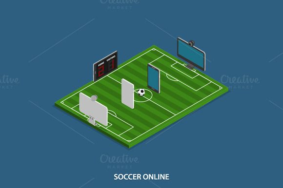 Soccer Online Isometric Concept by AndriiStore on @creativemarket