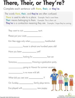 Third Grade Spelling Comprehension Vocabulary Worksheets: There, Their, or They're? This is a good assignment for the students to practice since this tends to be a big problem.