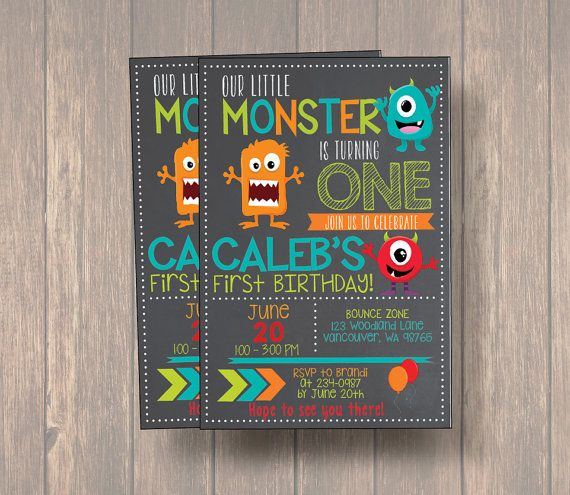 Monster Invitation, Monster Birthday Invitation, Monster Party, Little Monster First Birthday, Birthday, 2nd Birthday, Birthday Invitation