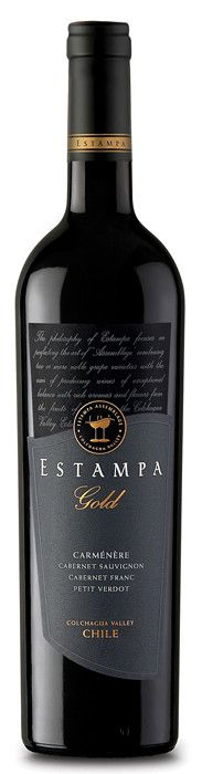 Estampa Gold Carmenère 2009. 61% Carmenère, 26% Cabernet Sauvignon, 8% Cabernet Franc and 5% Petit Verdot. The different components were vinified and aged separately all in French oak barrels between 80 and 100% new for 12-14 months. Herbaceous and blackcurrant aromas, grainy tannins, on the palate sweetness of raspberry with oak graphite. Fine balance and structure and long length.