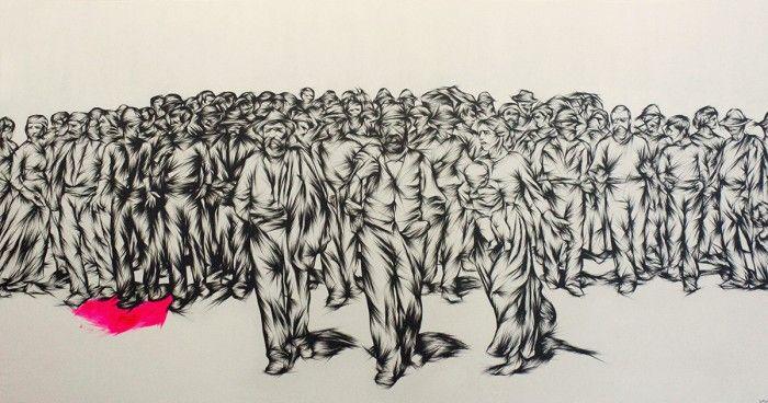 04 – Tribute to Il Quarto Stato, Studio  – 310 x 161 cm – acrylic on canvas – Los Angeles 2012
