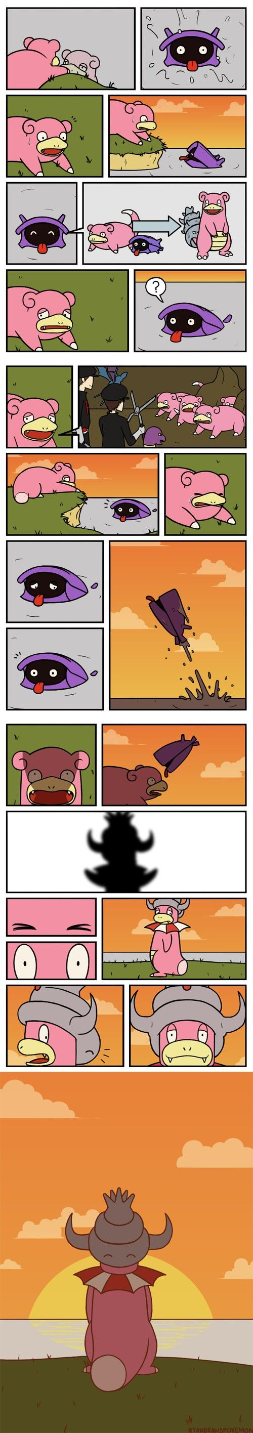 Pokemon Comic — Slowpoke wanted to be Slowbro, but Shellder helps him turn into a Slowking instead because he lost his tail.