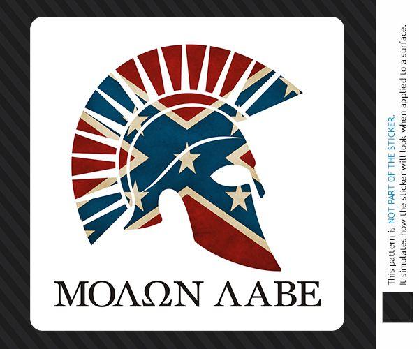 Molon Labe Spartan Helmet Rebel Flag Sticker Decal