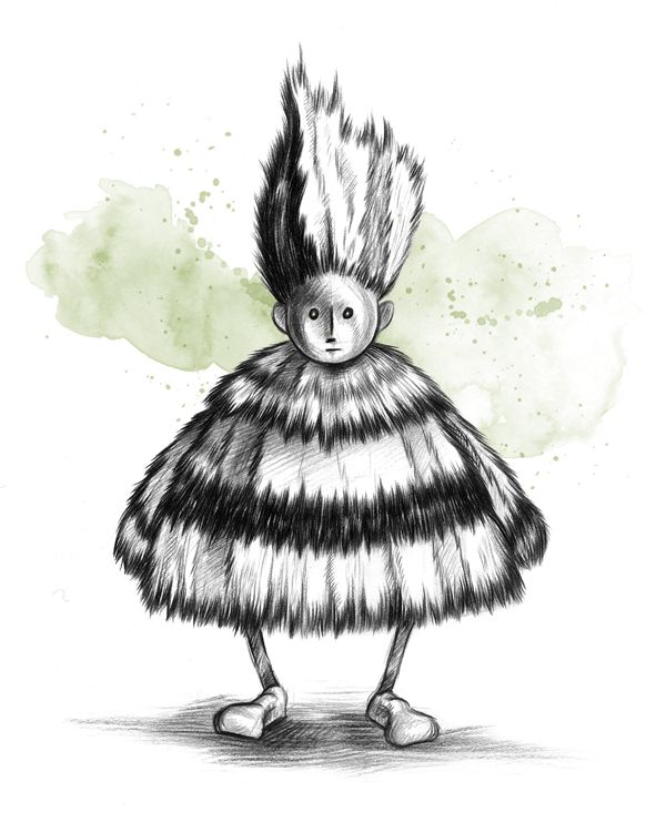 Scarecrow characters: Gipsy #art #illustration #drawing #charcoal #handmade #color #paper #character #design